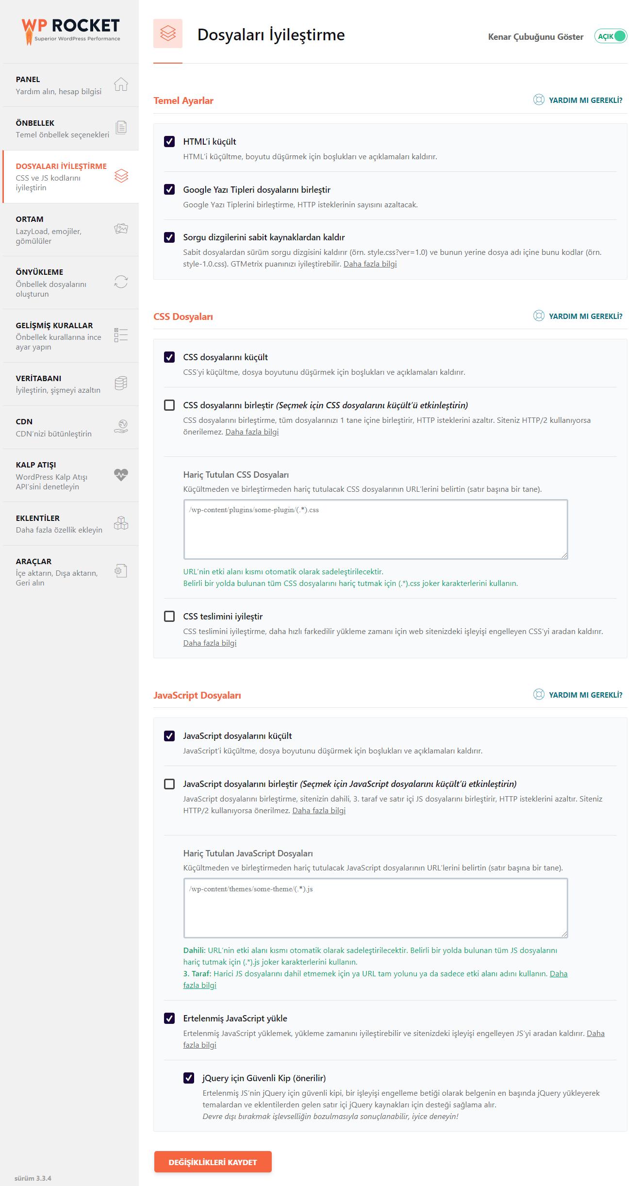 WP Rocket Cache - Dosyaları İyileştirme Ayarları